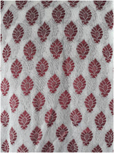 Load image into Gallery viewer, plain cloth online cloth material online Embroidered, Jaquard Cotton Off White, Maroon 49 inches Wide 1795