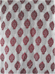 plain cloth online cloth material online Embroidered, Jaquard Cotton Off White, Maroon 49 inches Wide 1795