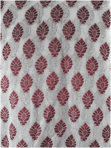 Image of plain cloth online cloth material online Embroidered, Jaquard Cotton Off White, Maroon 49 inches Wide 1795