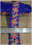lace trim fabric bridal rhinestone lace appliques wholesale Blue-Flower-Embroidered-2-Inch-Wide-3215