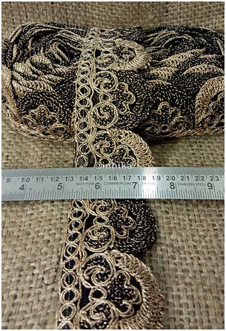 Image of lace trim fabric where to buy fringe for clothing Black-Embroidery-2-Inch-Wide-3257