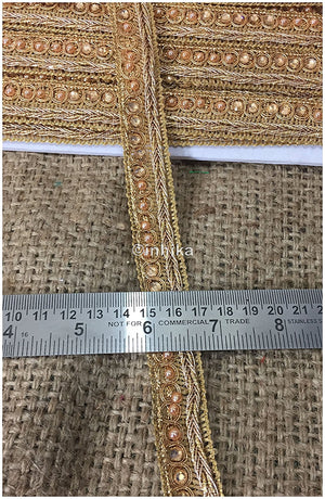 lace trim fabric where to buy fringe for clothing Gold, Embroidery, Stone, Pearl, 1 Inch Wide material Cotton Mix
