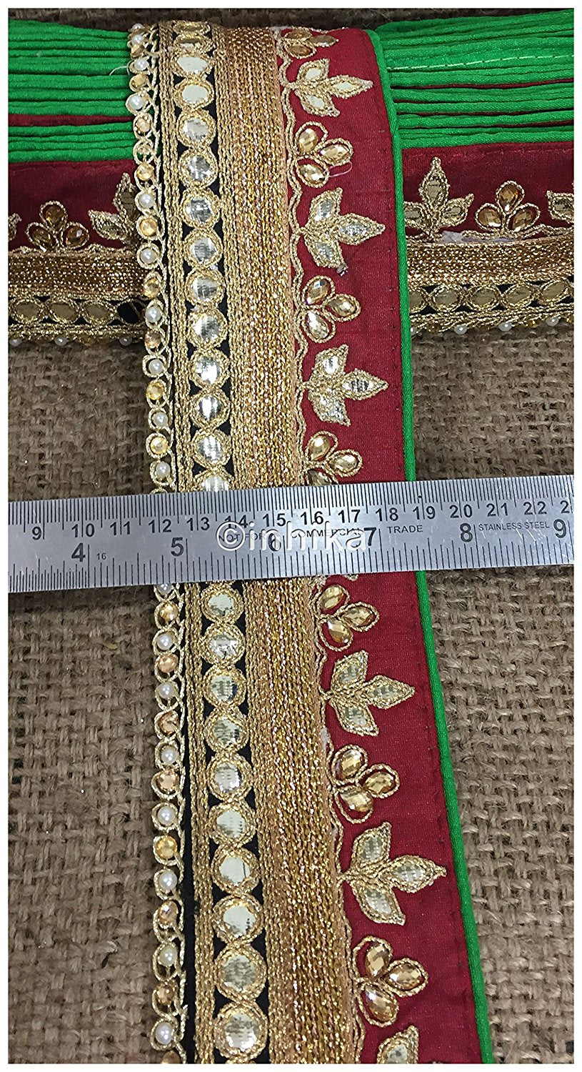 lace trim fabric garment accessories suppliers in mumbai Maroon-Black-Embroidery-Gota-Patti-3-Inch-Wide-3309