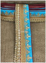 lace trim fabric beaded bridal braid trim by the yard Sky-Blue-Maroon-Embroidery-Gota-Patti-3-Inch-Wide-3304