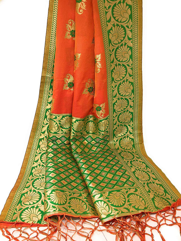 Orange Green Gold banarasi silk dupatta