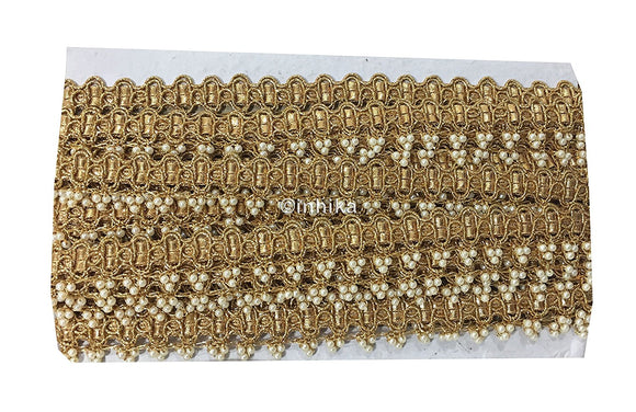 Pearl Gold Beaded Fringe Trim