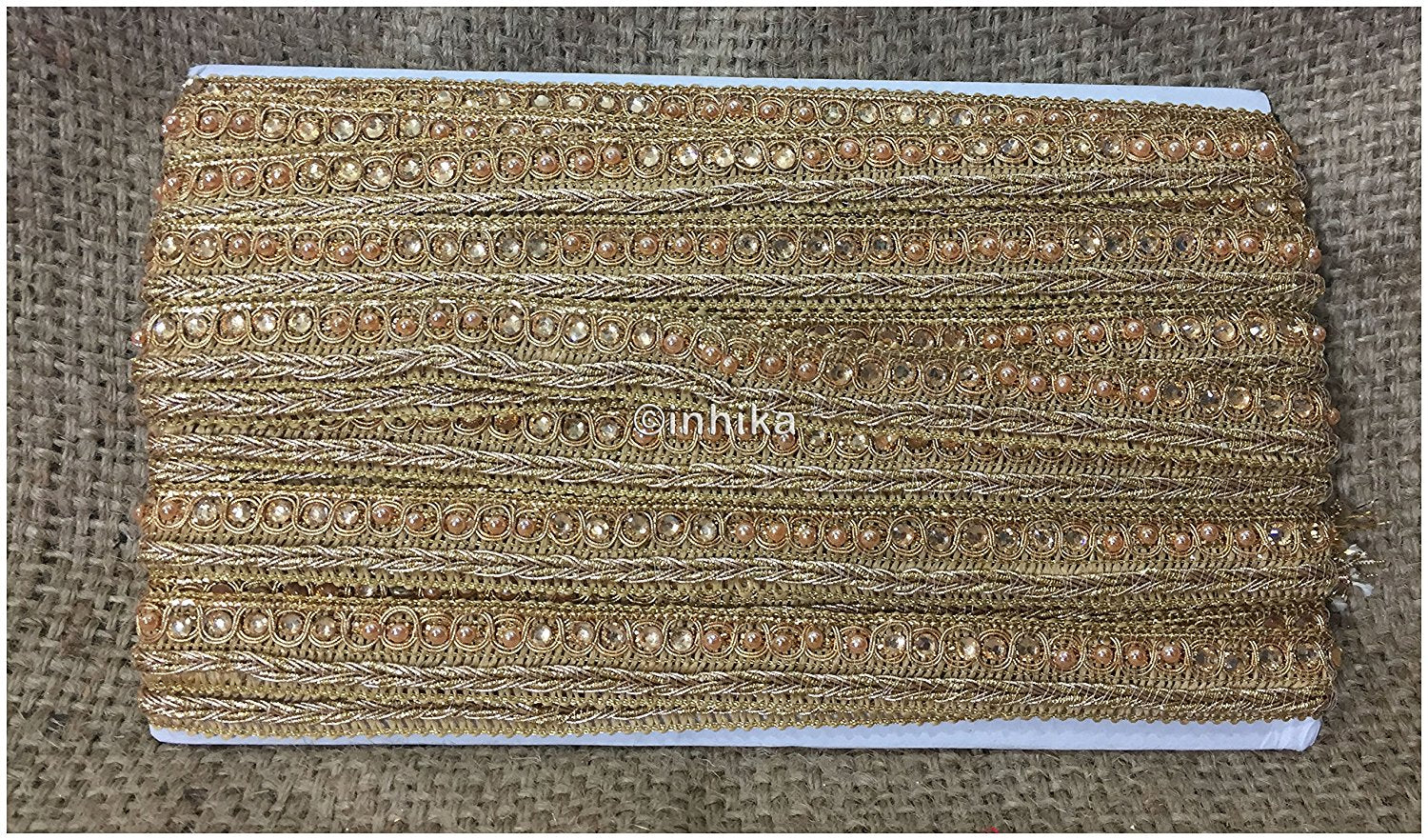 lace trim fabric lace material for dressmaking by the yard Gold, Embroidery, Stone, Pearl, 1 Inch Wide material Cotton Mix