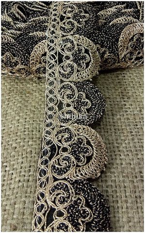 Image of lace trim fabric bridal rhinestone lace appliques wholesale Black-Embroidery-2-Inch-Wide-3257