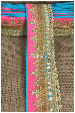 lace trim fabric fancy saree border lace for sale Pink-Sky-Blue-Embroidery-Gota-Patti-3-Inch-Wide-3300