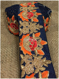 lace trim fabric decorative fabric trim ribbon for clothing Navy Blue, Embroidery, Sequins, 3 Inch Wide material Cotton Mix
