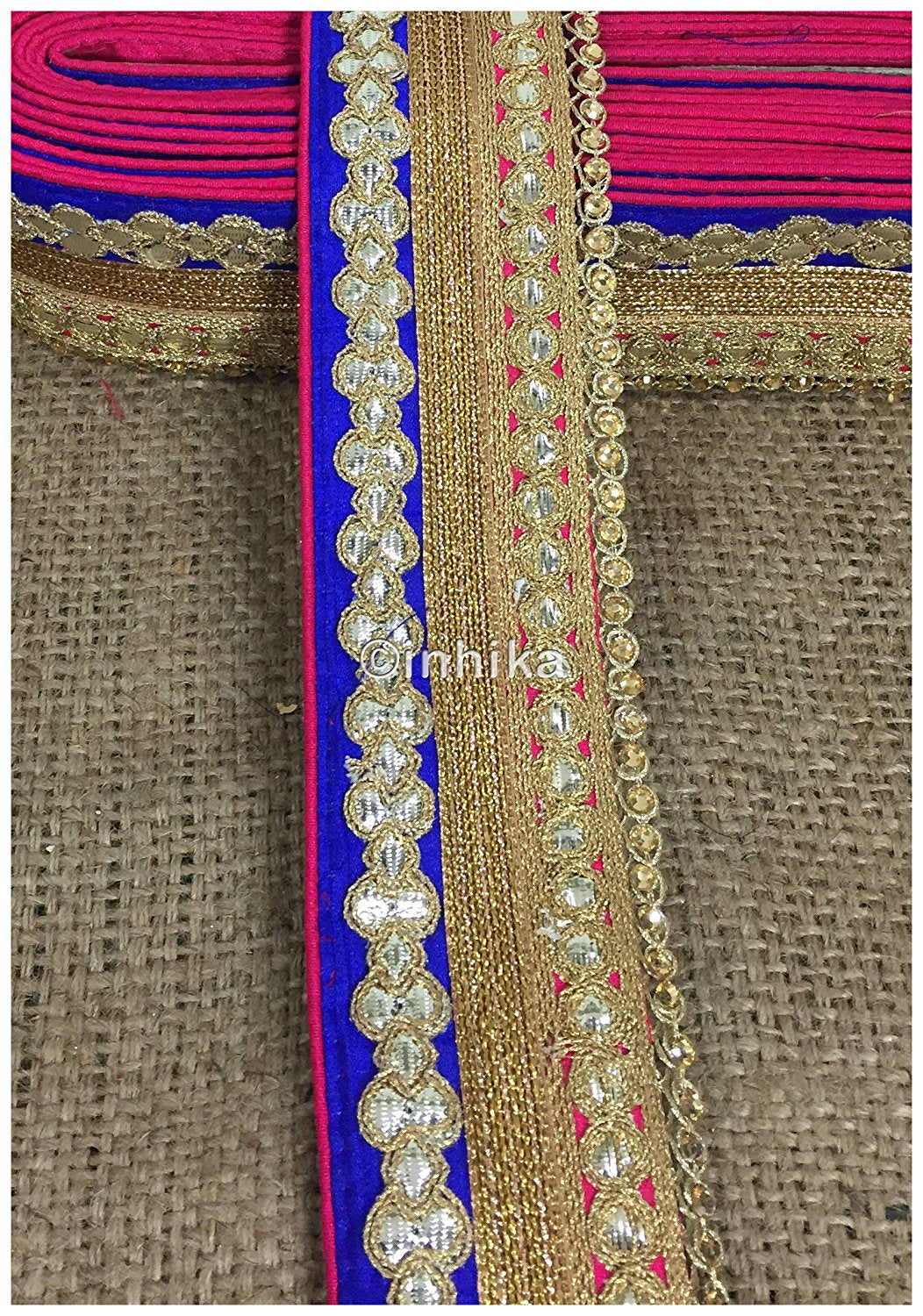 lace trim fabric where to buy fringe for clothing Rani-Pink-Blue-Embroidery-Gota-Patti-3-Inch-Wide-3305