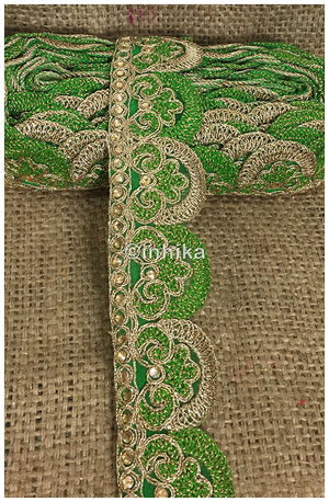 lace trim fabric saree border cheap lace fabric india  Green-Embroidery-2-Inch-Wide-3258