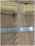 lace trim fabric sewing trims and embellishments for clothing Dull Gold, Embroidery, 3 Inch Wide material Net, Mesh, Tulle