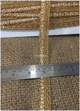 lace trim fabric fringe trim by the yard for clothing  Gold, Embroidery, Stone, 1 Inch Wide material Cotton Mix