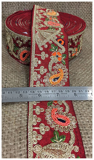 lace trim fabric beaded bridal lace fabric online by the yard Maroon, Embroidery, Sequins, Beads, 3 Inch Wide material Cotton Mix