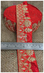 lace trim fabric trims in fashion Red, Embroidery, Sequins, 2 Inch Wide material Cotton Mix