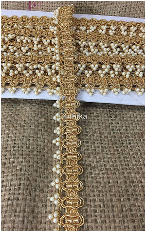 lace trim fabric bridal lace fabric uk wholesale india Gold, Embroidery, Pearl, 1 Inch Wide material Cotton Mix