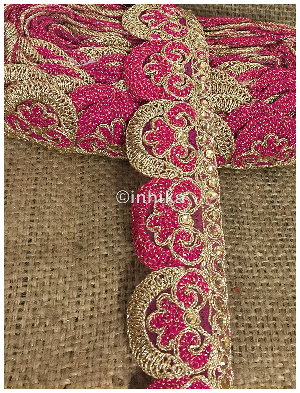 lace trim fabric bridal rhinestone lace appliques wholesale Rani-Pink-Embroidery-2-Inch-Wide-3255 Rani-Pink-Embroidery-2-Inch-Wide-3255