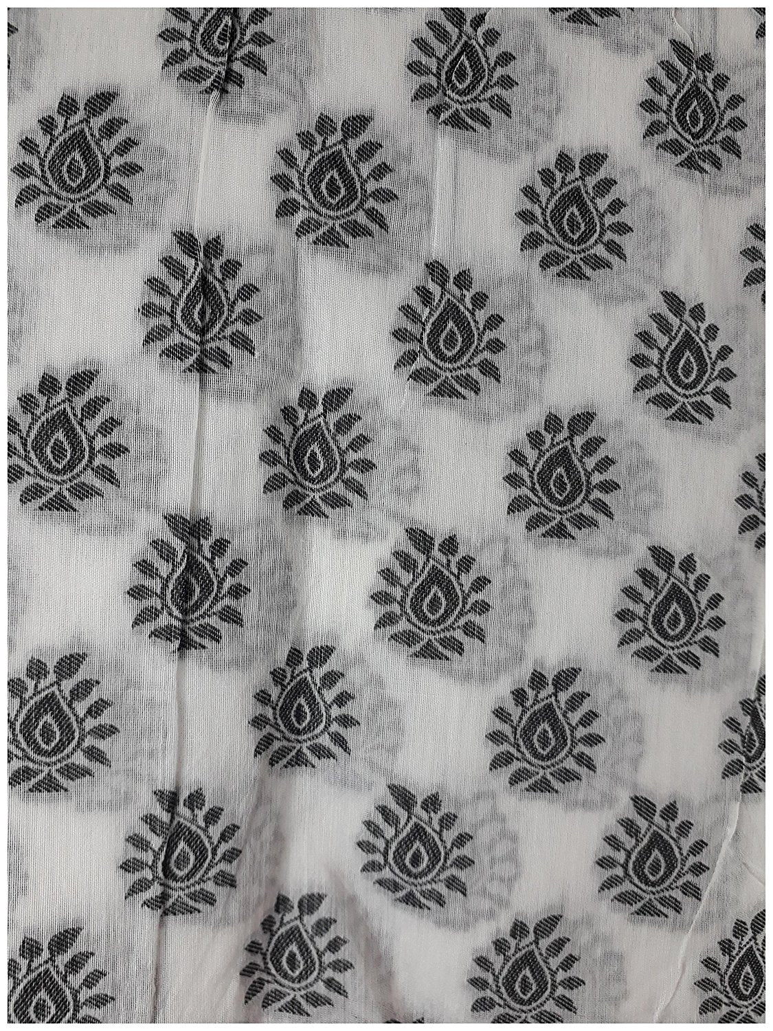 cloth material online fabric material online Embroidered, Jaquard Cotton Off White, Black 47 inches Wide 1784