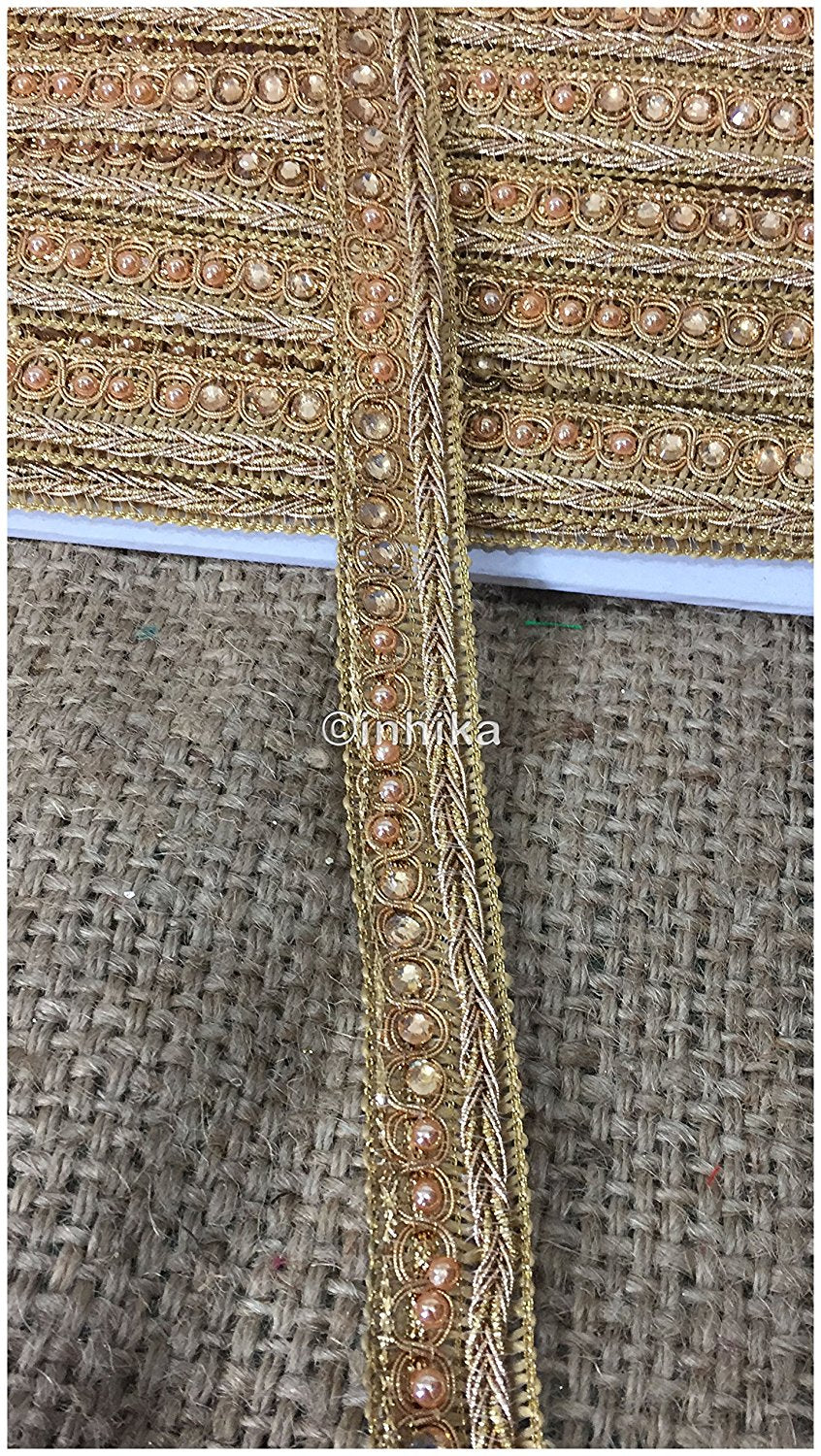 lace trim fabric trims and accessories used in garment industry Gold, Embroidery, Stone, Pearl, 1 Inch Wide material Cotton Mix