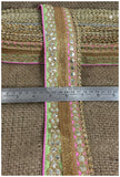 lace trim fabric bridal applique trim beaded lace  Pista-Green-Light-Pink-Embroidery-Gota-Patti-3-Inch-Wide-3310