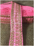 lace trim fabric designer fabric trim for garment wholesale suppliers Light-Pink-Embroidery-3-Inch-Wide-3291