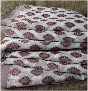 kurta fabric online india cloth material online Embroidered, Jaquard Cotton Off White, Maroon 49 inches Wide 1795