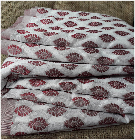 Image of kurta fabric online india cloth material online Embroidered, Jaquard Cotton Off White, Maroon 49 inches Wide 1795