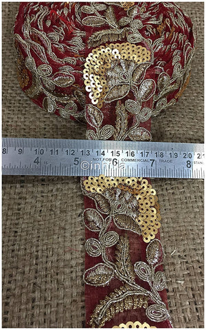 lace trim fabric decorative fabric trim ribbon for clothing Maroon, Embroidery, Sequins, 2 Inch Wide material Net, Mesh, Tulle