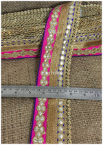 lace trim fabric saree border cheap lace fabric india  Blue-Pink-Embroidery-Gota-Patti-3-Inch-Wide-3307