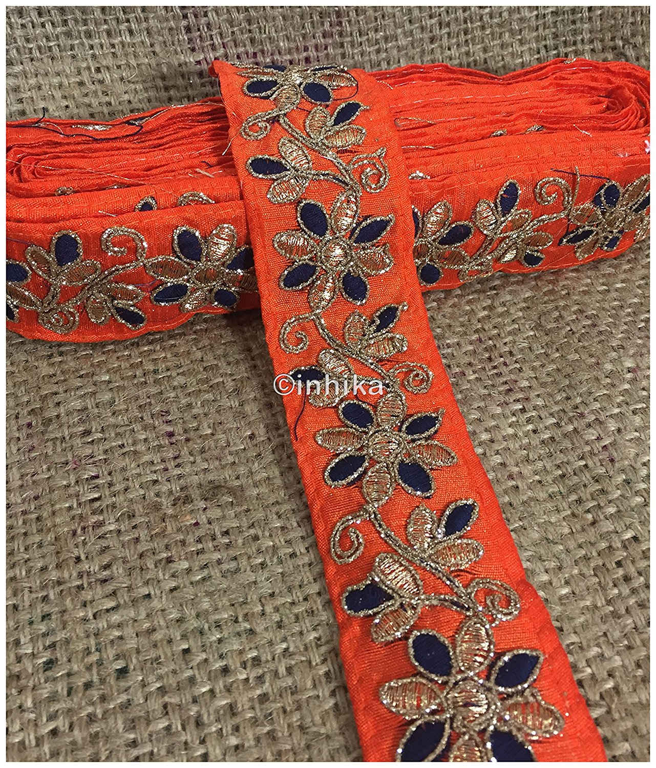 lace trim fabric where to buy fringe for clothing Orange-Flower-Embroidered-2-Inch-Wide-3214