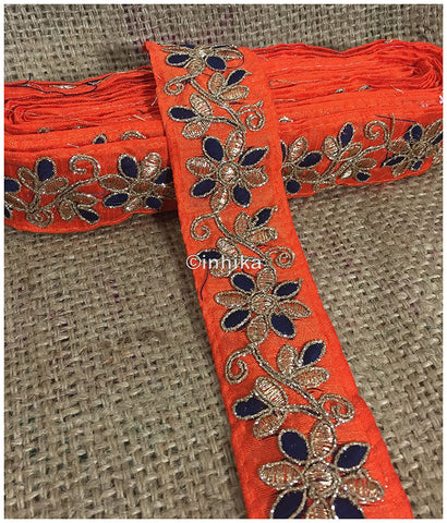 Image of lace trim fabric where to buy fringe for clothing Orange-Flower-Embroidered-2-Inch-Wide-3214