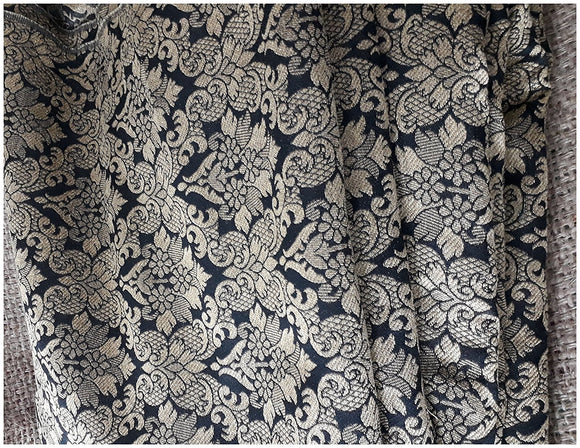 online cloth material shopping buy material Embroidery Faux Silk Black, Gold 43 inches Wide 8018