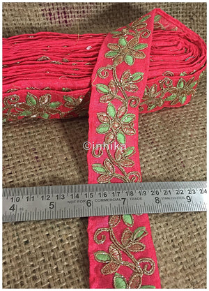 lace trim fabric where to buy lace appliques Pink-Flower-Embroidered-2-Inch-Wide-3216