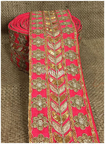 Image of lace trim fabric bridal lace fabric uk wholesale india Pink, Embroidery, Sequins, 4 Inch Wide material Cotton Mix