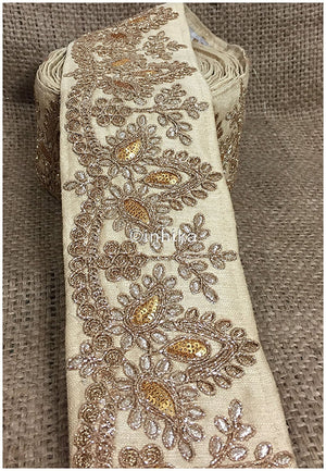 lace trim fabric saree border cheap lace fabric india  Beige, Embroidery, Sequins, 4 Inch Wide material Cotton Mix