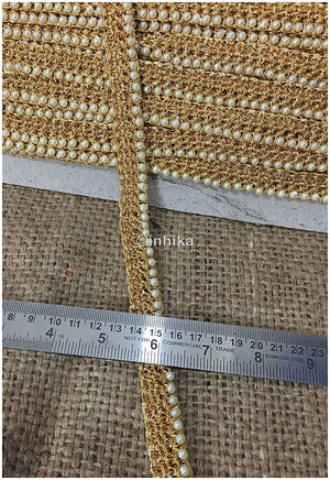 lace trim fabric designer fabric trim for garment wholesale suppliers Gold, Zari, 1 Inch Wide material Cotton Mix