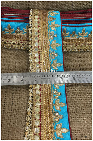 lace trim fabric online saree lace border patterns design with price Sky-Blue-Maroon-Embroidery-Gota-Patti-3-Inch-Wide-3304