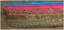 Load image into Gallery viewer, lace trim fabric garment accessories suppliers in mumbai Peach-Teal-Green-Embroidery-Gota-Patti-3-Inch-Wide-3301