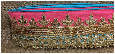 Image of lace trim fabric garment accessories suppliers in mumbai Peach-Teal-Green-Embroidery-Gota-Patti-3-Inch-Wide-3301