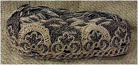 Image of lace trim fabric trims in fashion Black-Embroidery-2-Inch-Wide-3257