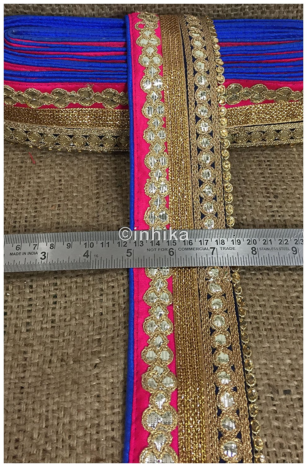 lace trim fabric fancy saree border lace for sale Pink-Black-Embroidery-Gota-Patti-3-Inch-Wide-3308