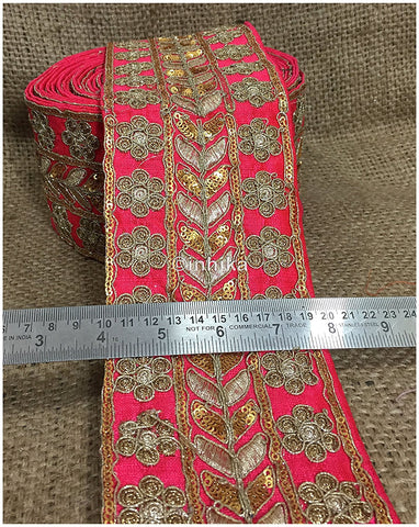 Image of lace trim fabric embroidered lace fabric for wedding dresses india online Pink, Embroidery, Sequins, 4 Inch Wide material Cotton Mix