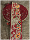 lace trim fabric decorative fabric trim ribbon for clothing Maroon, Embroidery, Sequins, Beads, 3 Inch Wide material Cotton Mix