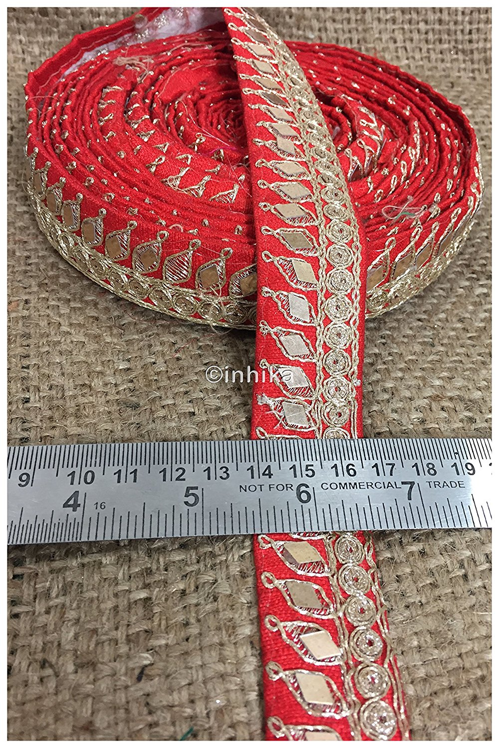 lace trim fabric garment accessories suppliers in mumbai Red, Embroidery, Mirror, 2 Inch Wide material Cotton Mix