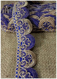 lace trim fabric beaded bridal braid trim by the yard Royal-Blue-Embroidery-2-Inch-Wide-3259