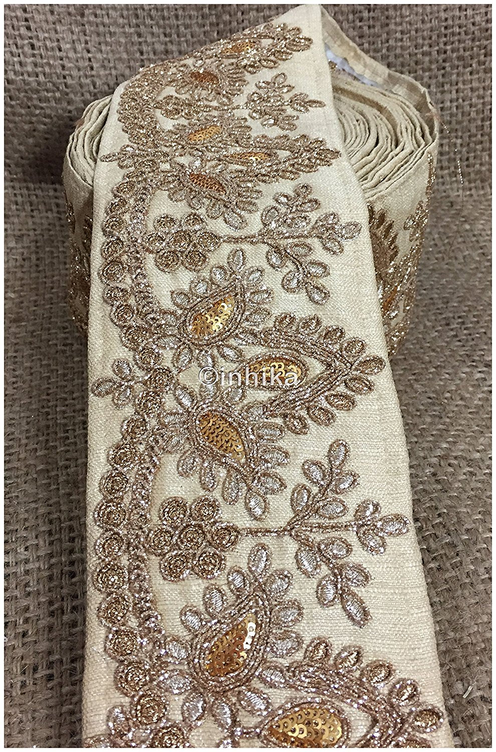 lace trim fabric beaded bridal lace fabric online by the yard Beige, Embroidery, Sequins, 4 Inch Wide material Cotton Mix