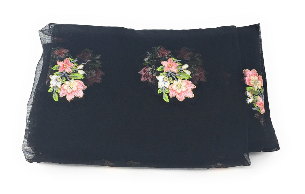 Black Net Fabric With Embroidery