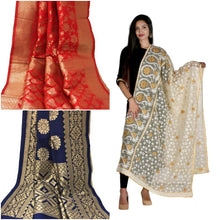 Load image into Gallery viewer, Sea Blue heavy dupatta