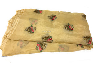 Chinon Chiffon Fabric, Silk Look, Floral Beaded Embroidery in Beige